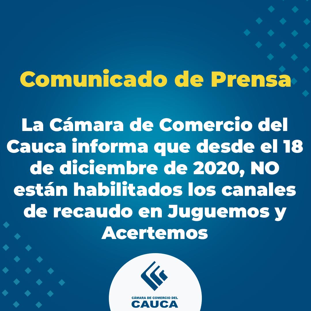 Comunicado de Prensa: Canales de Recaudo CCCauca